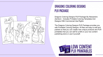 Dragons Coloring Designs PLR Package