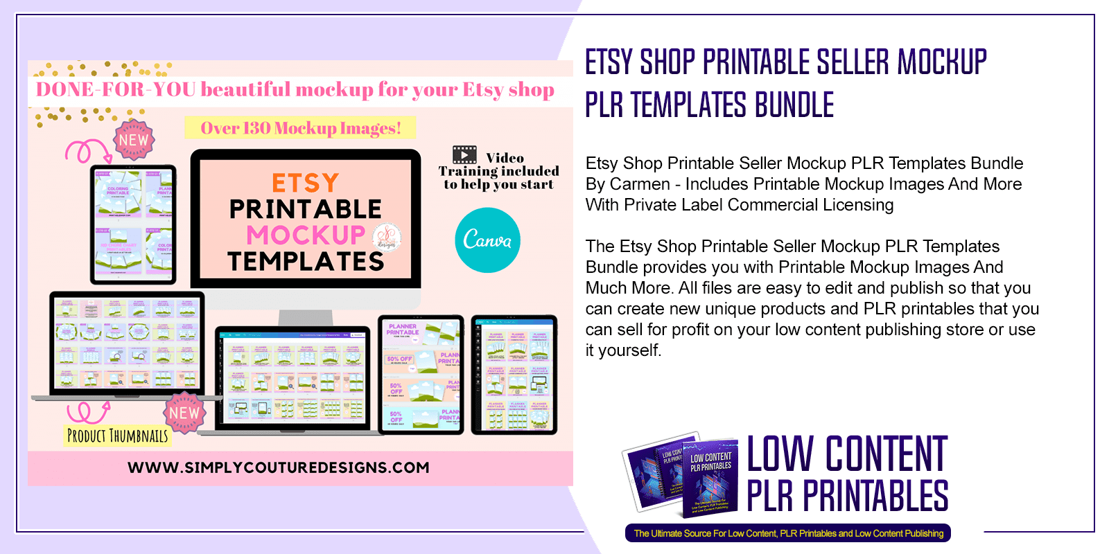 Etsy Shop Printable Seller Mockup PLR Templates Bundle