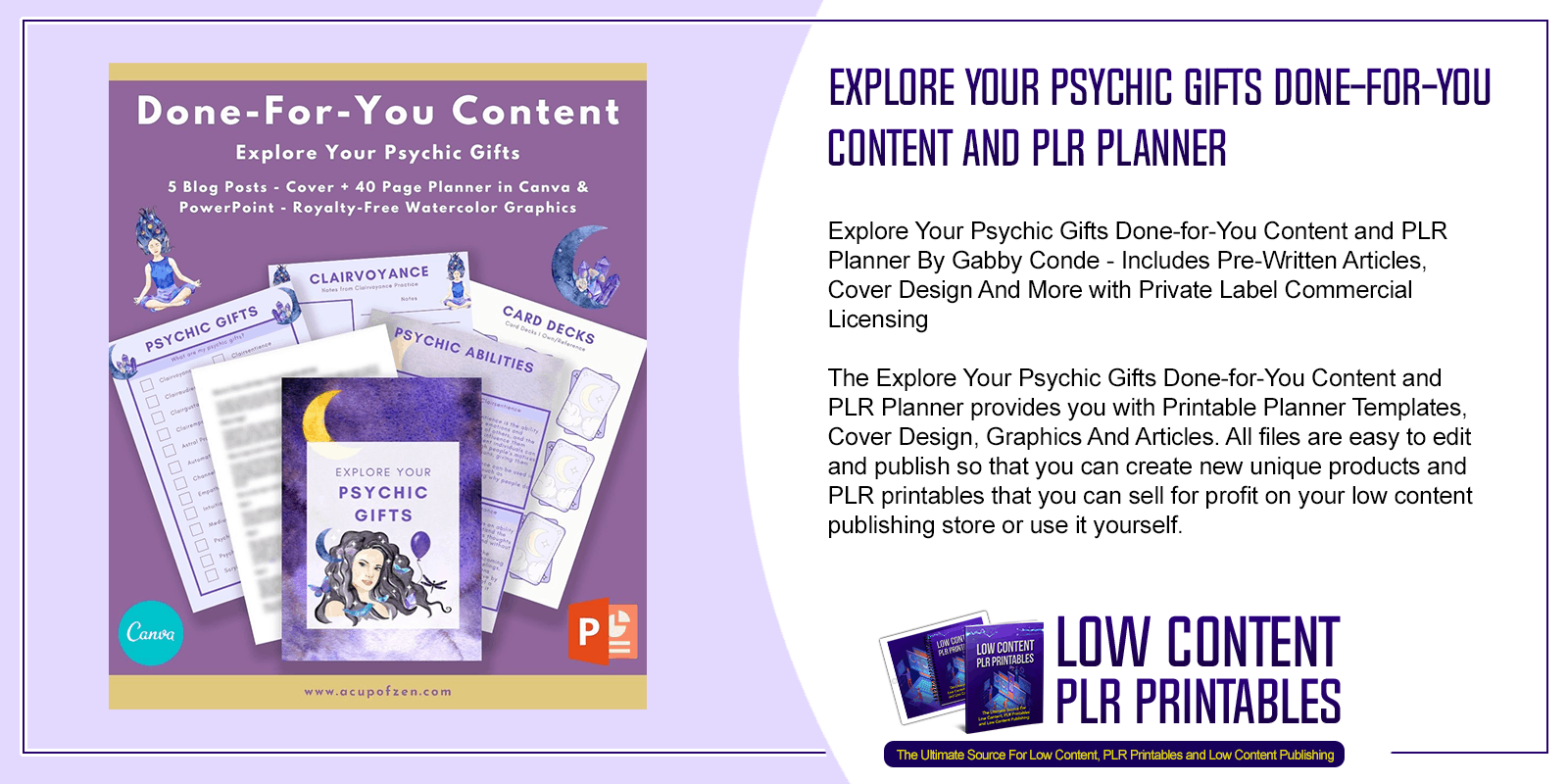 Explore Your Psychic Gifts Done for You Content and PLR Planner