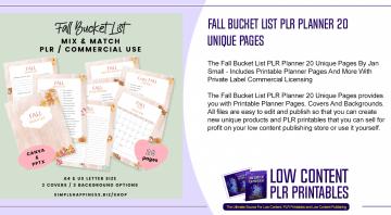 Fall Bucket List PLR Planner 20 Unique Pages