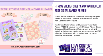 Fitness Sticker Sheets and Watercolor Rose Digital Papers FREEBIE