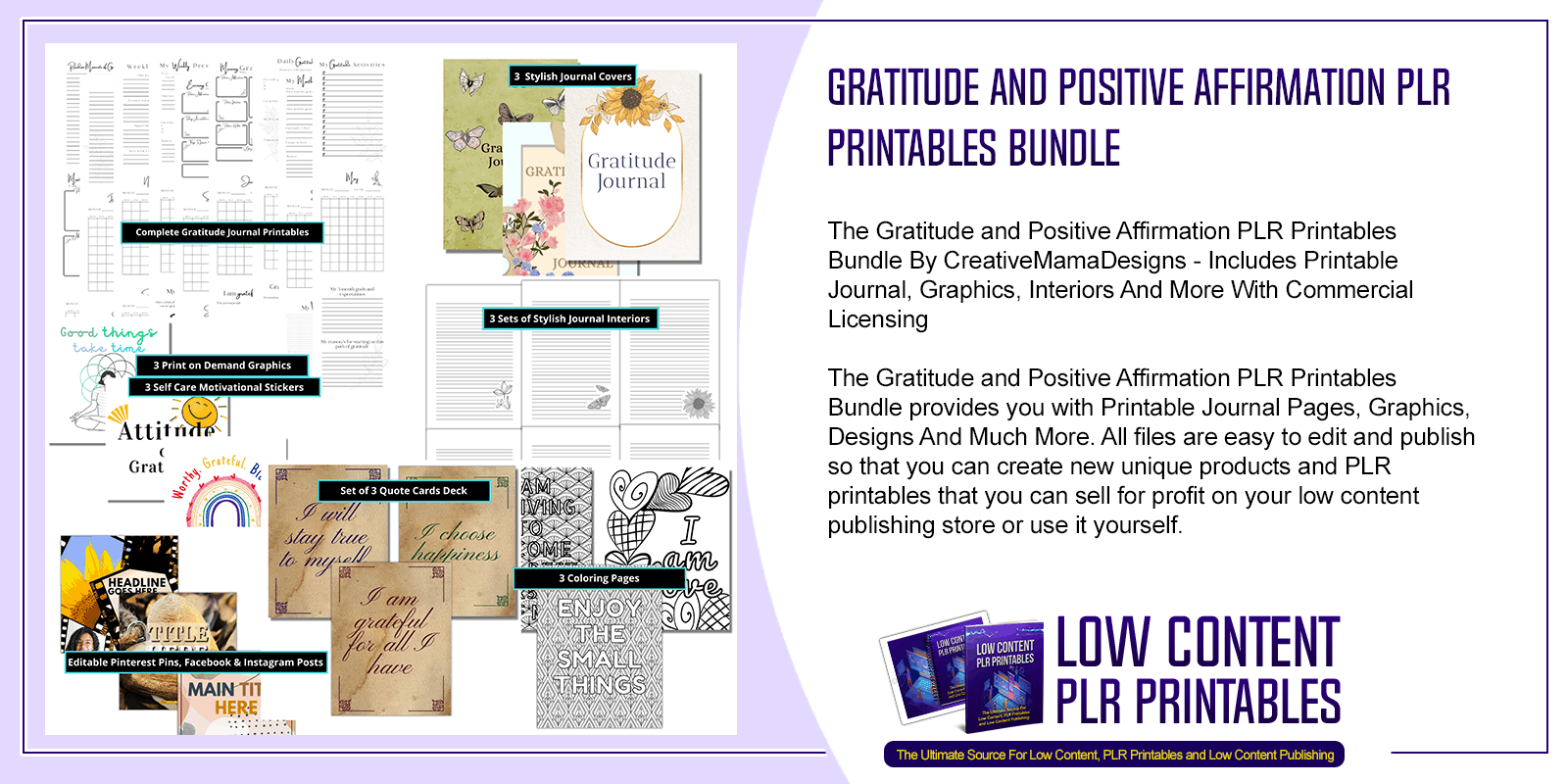 Gratitude and Positive Affirmation PLR Printables Bundle