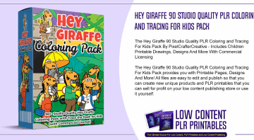 Hey Giraffe 90 Studio Quality PLR Coloring and Tracing For Kids Pack