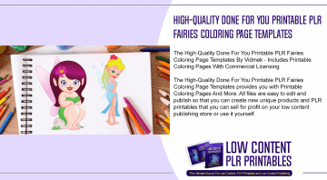 High Quality Done For You Printable PLR Fairies Coloring Page Templates