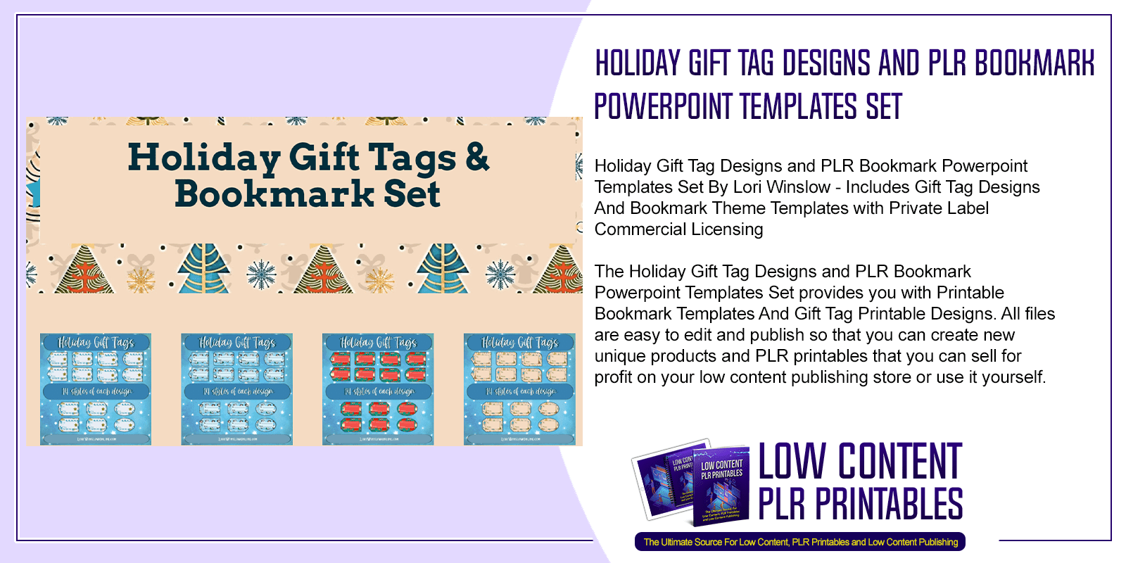 Holiday Gift Tag Designs and PLR Bookmark Powerpoint Templates Set