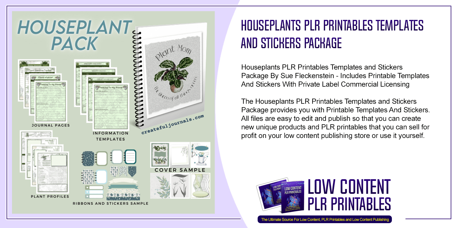 Houseplants PLR Printables Templates and Stickers Package 2