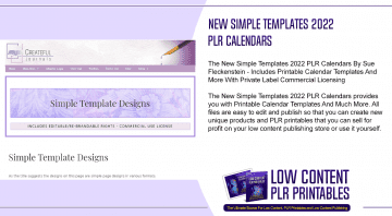 New Simple Templates 2022 PLR Calendars