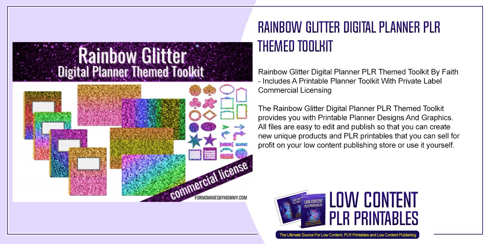 Rainbow Glitter Digital Planner PLR Themed Toolkit