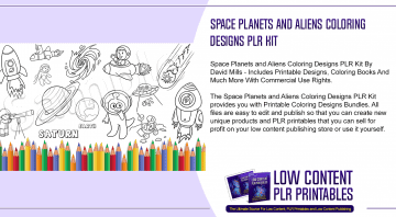 Space Planets and Aliens Coloring Designs PLR Kit