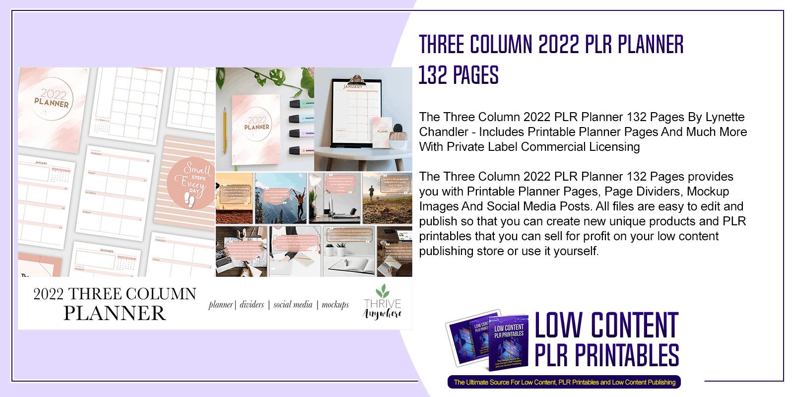 Three Column 2022 PLR Planner 132 Pages 2