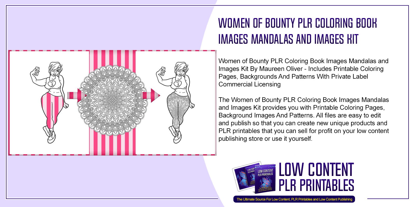 Women of Bounty PLR Coloring Book Images Mandalas and Images Kit